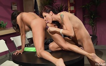 Lesbian fantasy on the toy cock for Sea J Raw and Ariella Ferrara