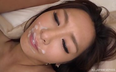 Pretty face of Japanese Mizusawa Nono sprayed with cum
