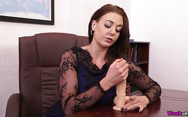 Sex-hungry busty relationship woman Sapphire is playing with suction make a face dildo