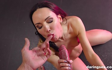 Latina babe Lilu Satellite swallows every recklessness of a succulent sticky load