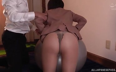 Kawai Asuna sits on a friend's chubby and hard cock with her tiny cunt