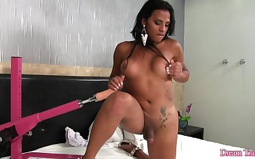 Horny Inked Shemale Alexia Rios Serves a Fucking Machine with Her Asshole