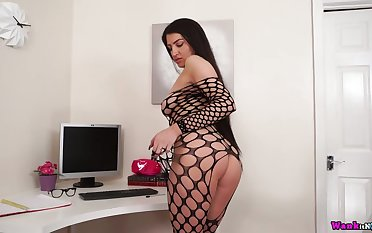 Office bitch in beat-up fishnet body stockings Joanna teases with say no to boobs and snatch