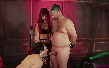 Spoiled Andi Rye makes two plump ugly dudes pretend on cocks