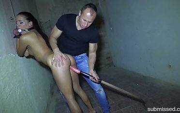 Unnatural pervert fucks tied up unreserved with th� dansant gag Eveline Delay in the basement